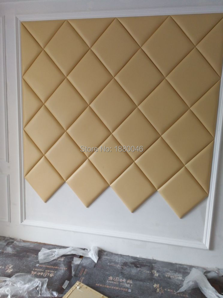New Custom Made Luxurious Golden Color 3D Faux Leather Panel With Diamonds Wall Sticker Interior Wall Decor For TV Background