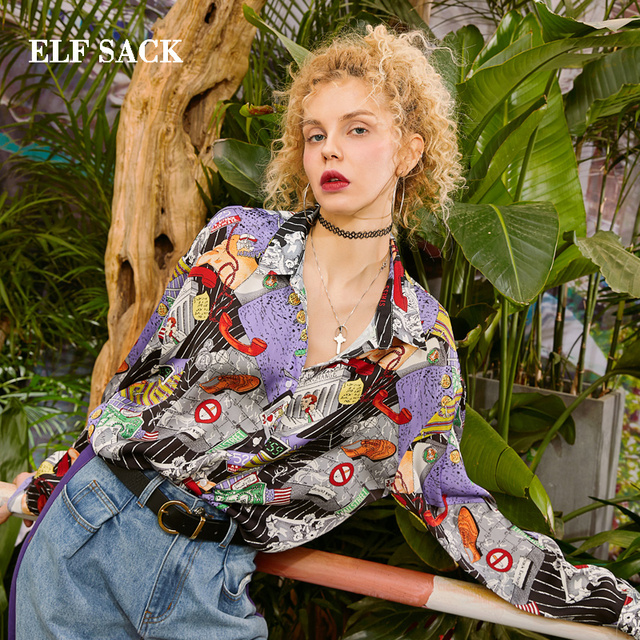 ELF SACK 2019 New Stylish Shirts Woman Casual Full Print Square Collar Blouse Women Streetwear Harajuku Oversized Ladies Shirts
