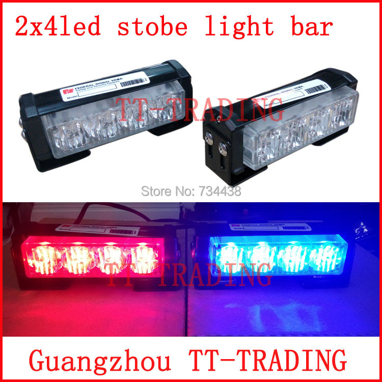 2x4 led Police strobe lights vehicle strobe light bar car warning lights led emergency strobe lights DC12V RED BLUE WHITE AMBER