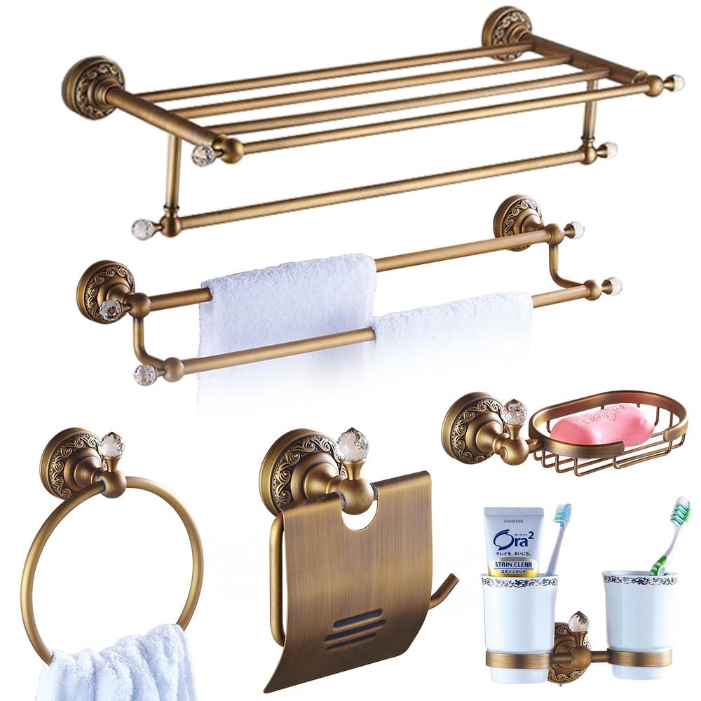 European Carved Crystal Bathroom Accessories Set Antique Polished Diamond Bathroom Hardware Set Decoration Brushed Bathroom Set