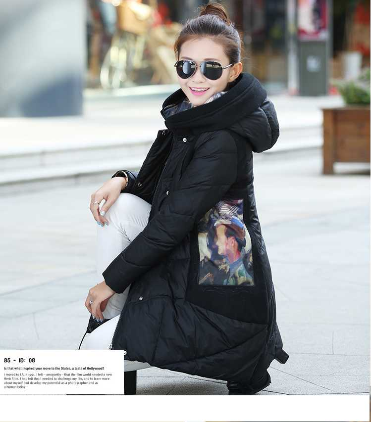 Winter Coat Women 2015 New Fashion Ladies Print Wadded Thicken Cloak Parkas Women Hooded Long Down Jacket Overcoat H5513 2017 new winter women warm hooded thicken slim wadded jacket woman parkas female ladies wadded overcoat long cotton coat cxm31