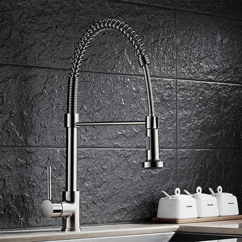 Brushed Nickel Kitchen Faucet Pull Out Mixer 2-Function Water Outlet All Around Rotate Swivel Water Tap