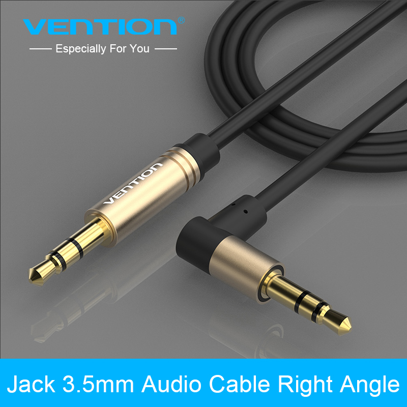 Vention 3.5mm Jack Audio Cable 90 Degree Right Angle 3.5 AUX Cable for Car headphone beats speaker MP3/4 ford focus aux wire aixxco 3 5mm audio aux cable jack 3 5 to jack gold plated 90 degree angle spring audio cable 3 5mm male to male for iphone car