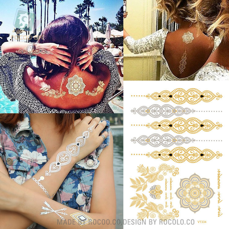17 hot sell body art painting tattoo stickers Metal gold silver temporary flash tattoo Disposable indians tattoos tatoo VT334 10