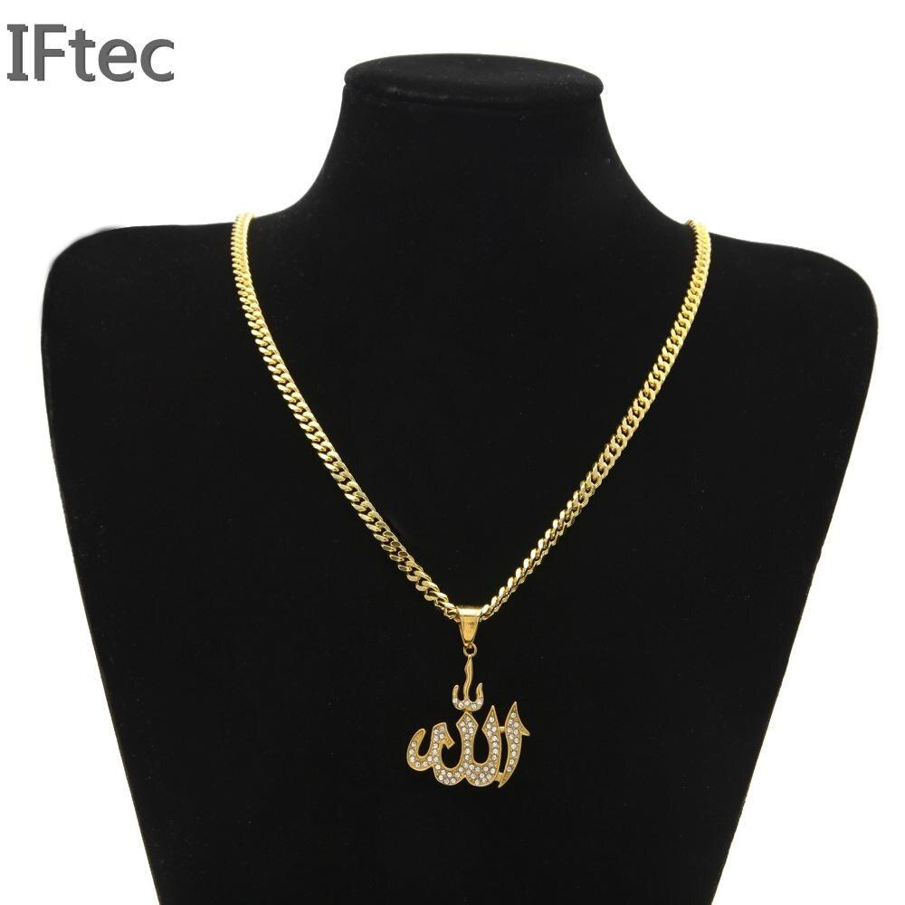 Iftec 30 Copper Cuban Chain 14k Gold Plated Islamic Allah Necklace Rhinestone Fashion Necklace Muslim Zircon
