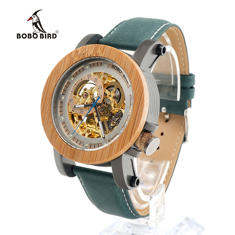 Luminous BOBO BIRD L-K13 Mechanical Wooden Watch with Gold Dial Navy Blue Strap Men Luxury Bamboo Watch Ring in Wood Box men s luxury brand bamboo wooden sunglasses square handmade polarized blue coating mirror eyewear in wood box as picture bs015