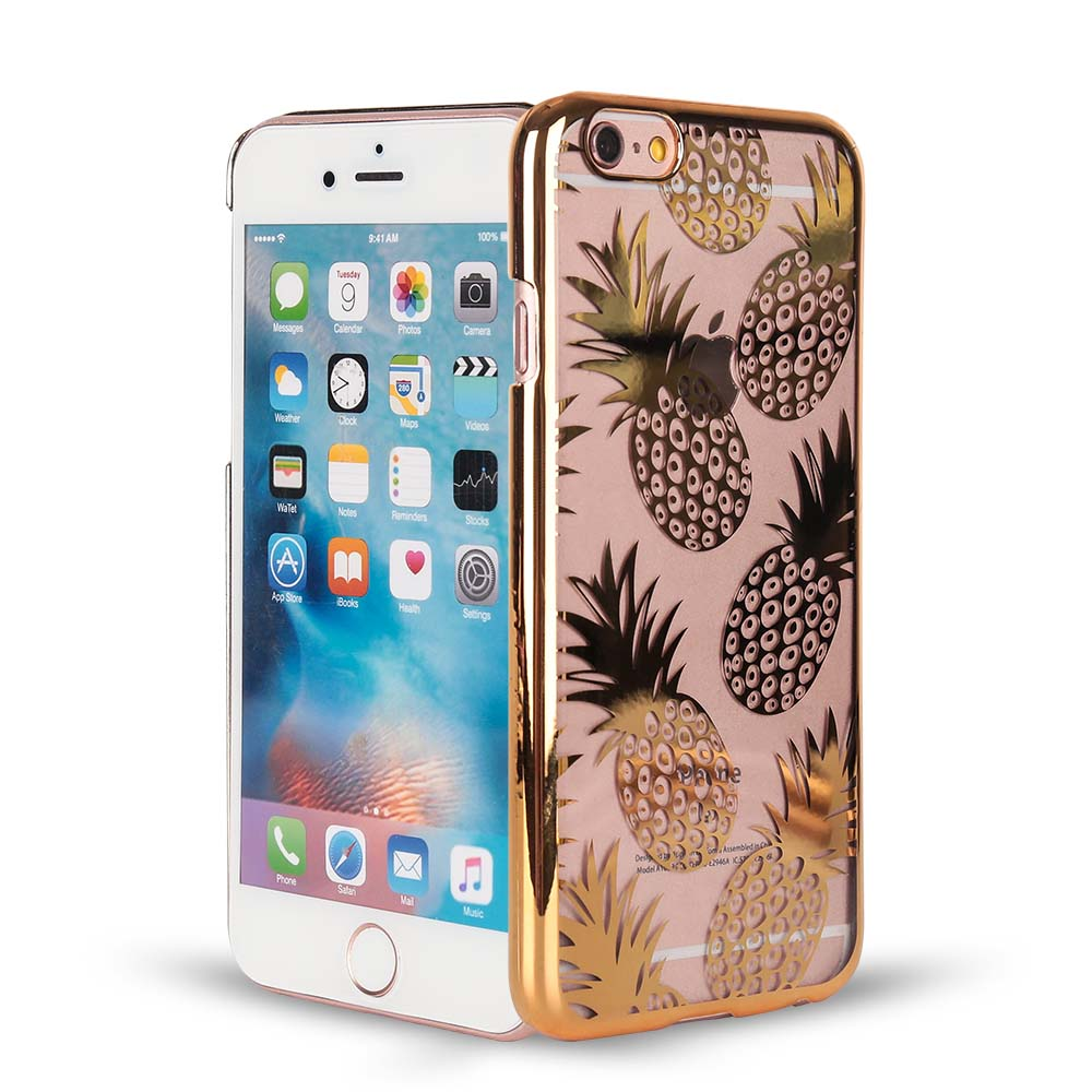 Haissky Plating PC Case For iPhone 6 6S Cover Cute Fruit Pineapple Transparent Phone Case For