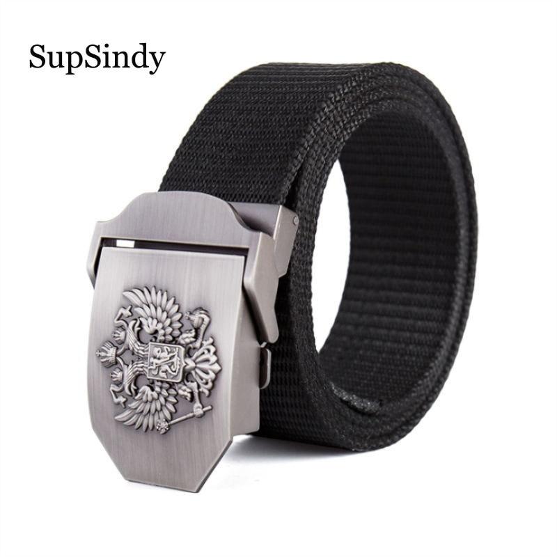 SupSindy Thick nylon canvas   belt   Russian National Emblem Alloy buckle military Men's   belt   Army tactical   belts   for Men strap male