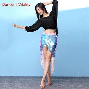 Image 4 - ベリーダンス衣装ホット販売女性ベリーダンスセットトップ & スパンコールヒップスカートパフォーマンスの摩耗スカート