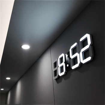 3D LED Wall Clock Modern Design Digital Table Clock Alarm Nightlight Saat reloj de pared Watch For Home Living Room Decoration - DISCOUNT ITEM  30 OFF Home & Garden