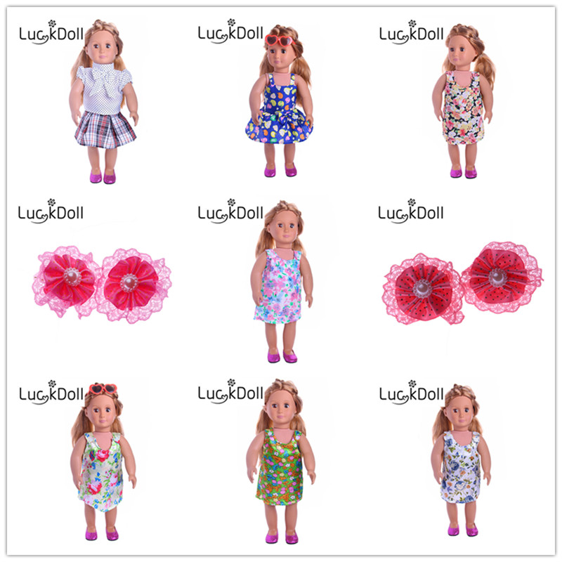 Luckdoll 7pcs floral skirt for 18 inch American girl or our generation doll casual clothes, give the child the best gift 18 inch american girl doll our generation doll birthday gift christmas gift for girls with clothes free shpping adg14