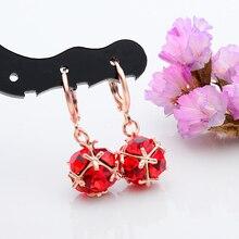 Free Shipping 1pair 18K Gold Filled Shiny Beautiful Ball CZ Cubic Zirconia Dangle Earrings Jewelry 4 Colors Choose
