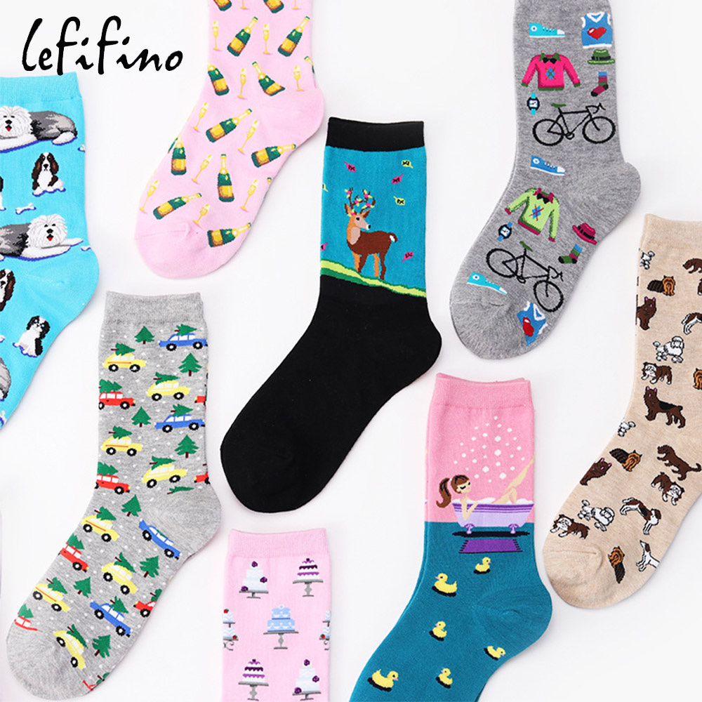 Japan Cotton Colorful Women   Socks   Cute Funny Happy Avocado Food   Socks   Men Fish Deer Beer Dog   Socks   Christmas Gift Xmas Ne77530
