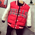 NEW Child Fashion Jacket Outwear Cotton Kids Children Teenage Coat chicago the boys bulls Jacket Boys Thicken Baseball Coat