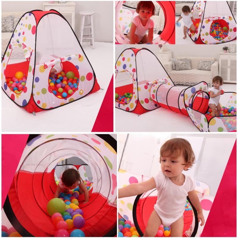 Portable Pool-Tube-Teepee Baby Play Tent House Foldable 3pc Pop-up Crawling Tunnel Ocean Ball Playing Tent Kids House