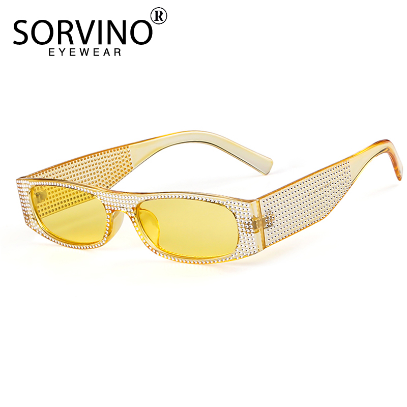 34f0aeddf7a SORVINO Vintage Glitter Narrow Rectangle Sunglasses Women Luxury Brand  Designer Tint Rectangular Sun Glasses Shades Oculos SP86-in Sunglasses from  Apparel ...