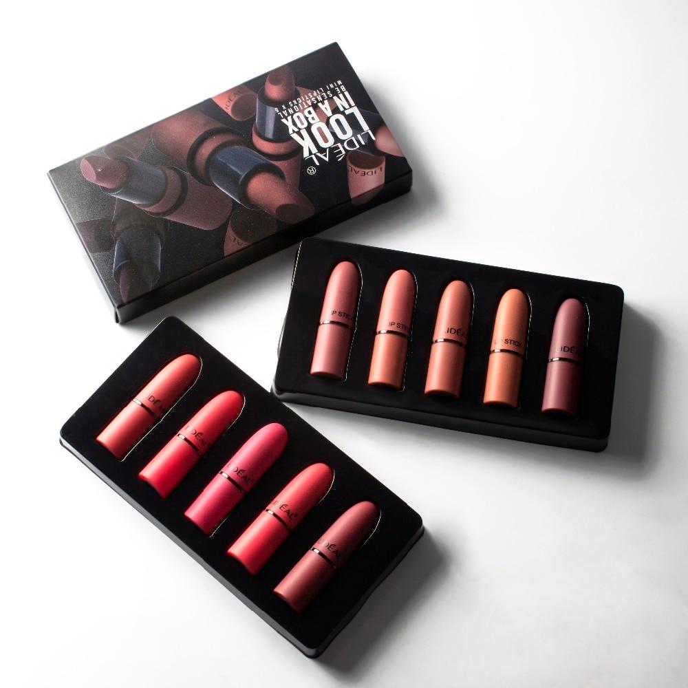 LIDEAL pçs/set 5 Matte Lip kit Profissional À Prova D' Água Conjunto Hidratante Nude Batom Long-lasting Batom Veludo lábio vermelho Sexy gloss