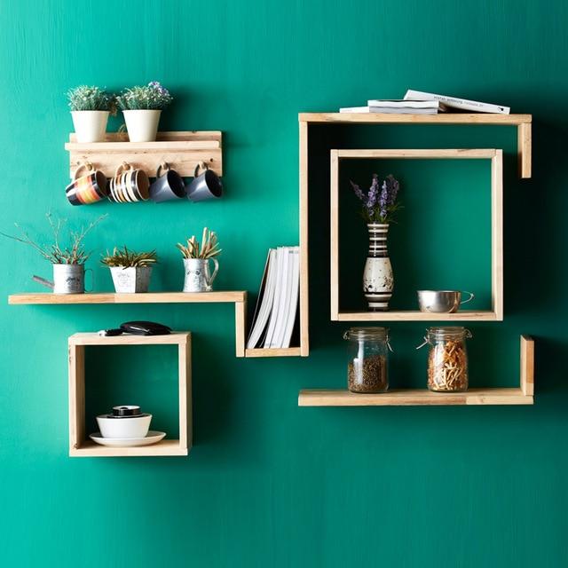 Collalily Nordic Wall Shelf Magazine Storage Holder Shelf Board Wood