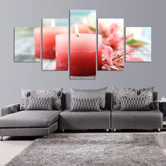 5 unidades de luz de las velas florero pintura al óleo lienzo ...