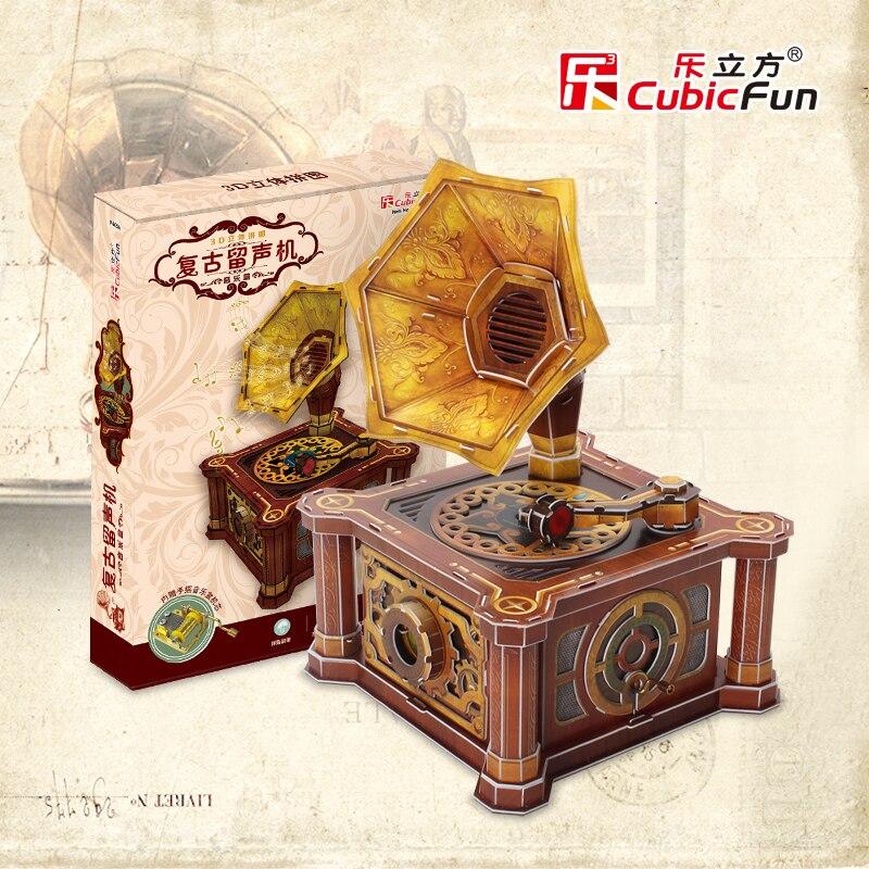 Cubicfun 3D paper model DIY toy children birthday gift puzzle Retro gramophone model phonograph font b