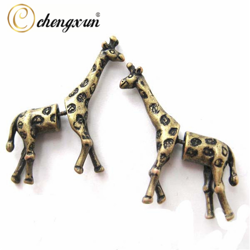 CHENGXUN Girls Children Lovely Post Stud Earrings 3D Long Stripe Giraffe Animal Ear Piercing Men Charms Jewelry Bohemian Style
