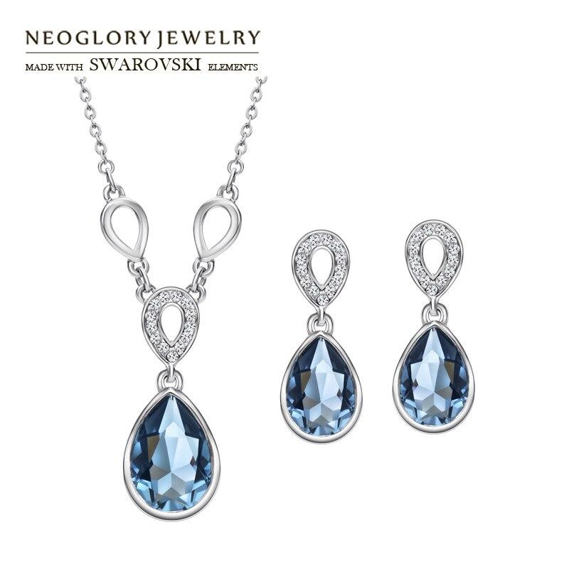 Neoglory Earrings Crystal Jewelry-Set Necklaces Rhinestone Water-Drop-Style Elegant Czech