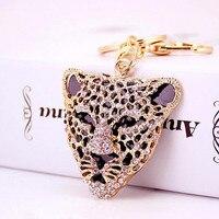 Fashion Leopard Head Crystal Keyrings Car KeyChains Key Ring Purse Bag Buckle HandBag Pendant Metal Men Women Party Gift
