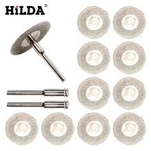 HILDA 10 шт./компл. 30 мм Мини Алмазная пила, серебряные режущие диски с двойным соединительным хвостовиком для дрели Dremel, вращающийся инструмент