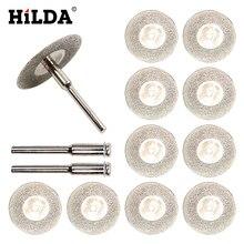 HILDA 10 unids/set 30mm hoja de sierra de diamante corte de plata discos con 2X conexión caña para Dremel broca para herramienta rotativa