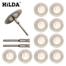 HILDA 10pcs/set 30mm Mini Diamond Saw Blade Silver Cutting Discs with 2X Connecting Shank for Dremel Drill Fit Rotary Tool