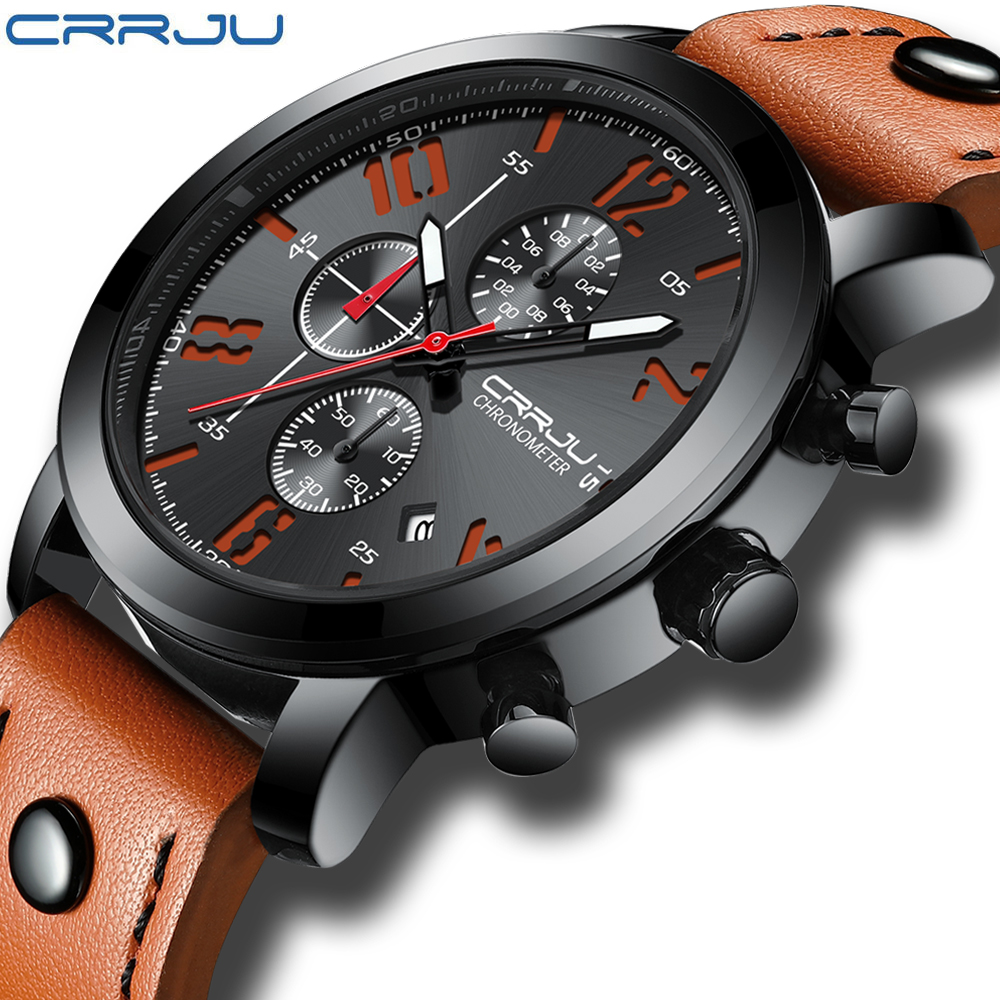 CRRJU Men Watch Creative Quartz Watches Men Leather Chronograph Military Sport Watches Male Clock Relogio Masculino Reloj Hombre сумка tosca blu tf17ob222 darkbrown tan black