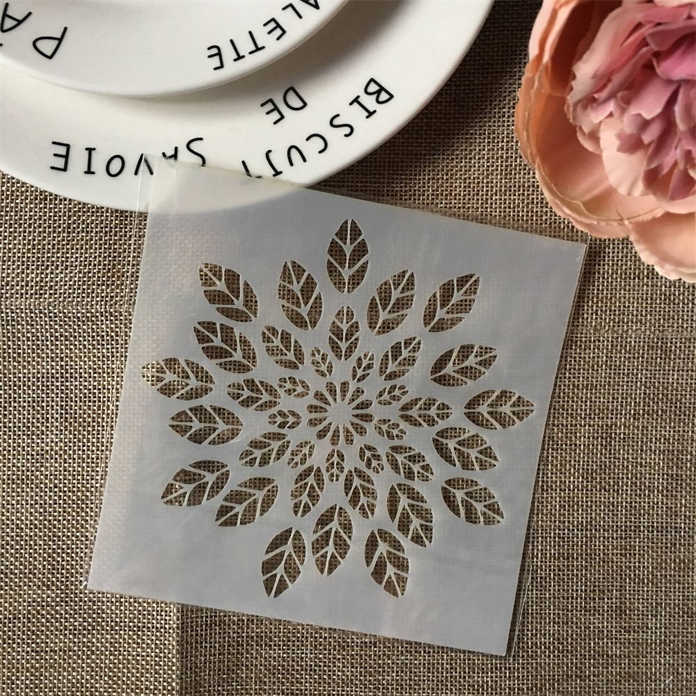Hot 13cm Leaves DIY Layering Stencils Wall Painting Scrapbook Coloring Embossing Album Decorative Card Template