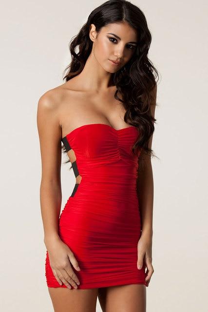 Red Strapless Mini Dress