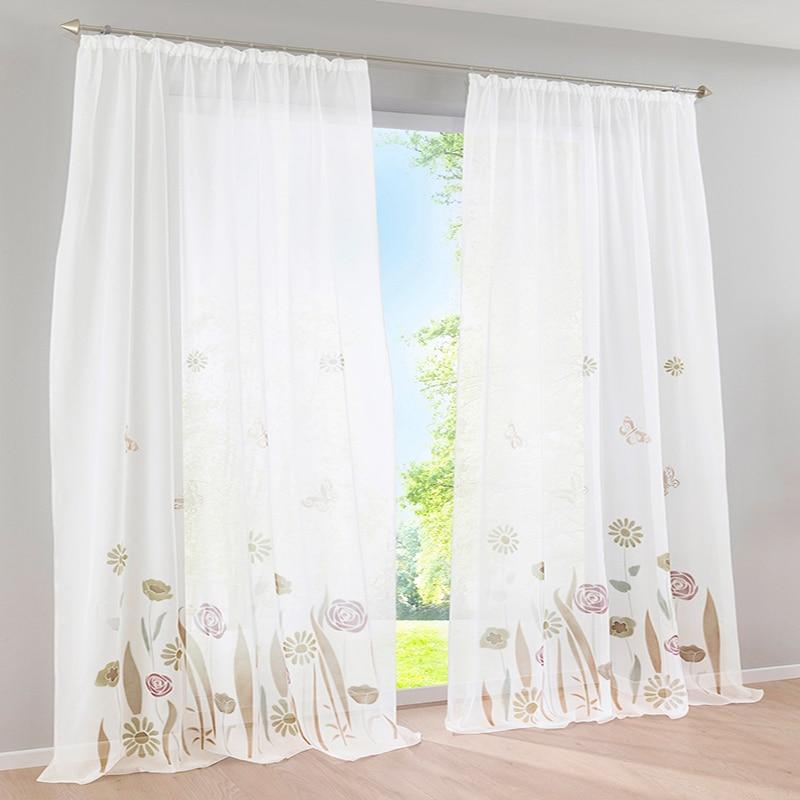 Organza tüll rustikale blume vorhang volant muster fenster curtain ...