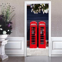 IDFIAF New creative 3D phone booth wall pasted oversized PVC wall wallpaper Home decoration