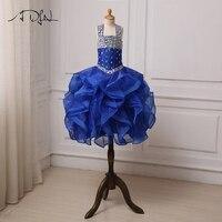 שמלת ילדה פרח גבישים נוצצות ADLN רויאל בלו פרעתי את אורגנזה תחרות שמלות הילדה Cupcake שמלות מסיבת יום הולדת