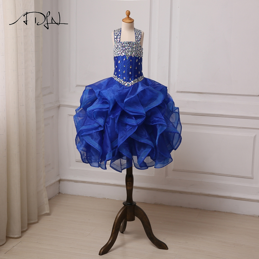 ADLN Sparkling Crystals   Flower     Girl     Dress   Royal Blue Ruffled Organza Pageant   Girl     Dresses   Cupcake Gowns Birthday Party