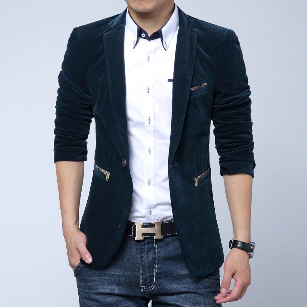 ee8fbe38590d Men slim fit casual corduroy blazers Man royal blue/red/black suit  Masculino fashion party office costume-in Blazers from Men's Clothing on  Aliexpress.com ...
