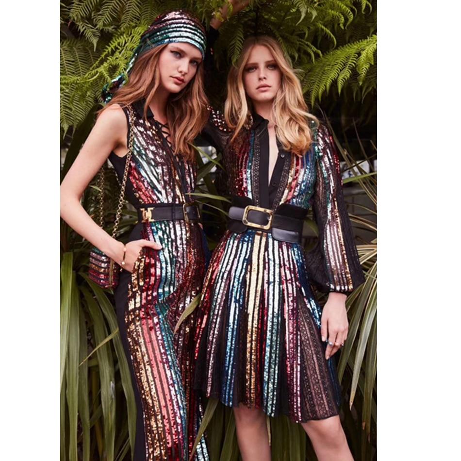 Cou Femmes Robes Robe Celebrity Sequin 2019 Sexy À Tendance Party Clubwear Multicolore Manches Patchwork O Longues Nouveauté Maille qXRSnw