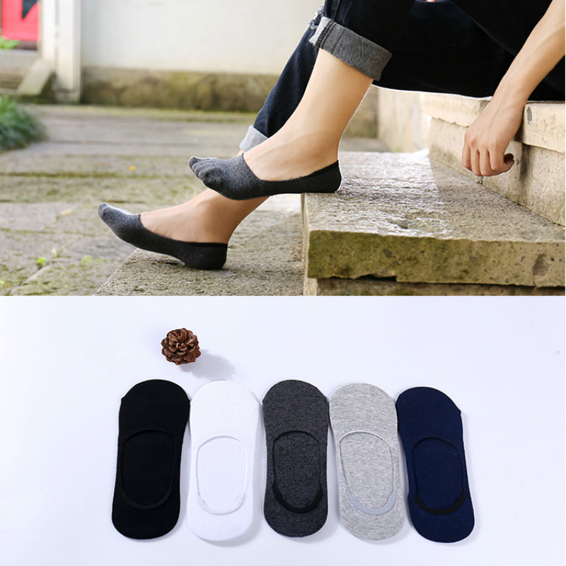 5 Pairs/lot Mens Silicone Slippers Cotton Solid Low Show Socks Casual Men Sock