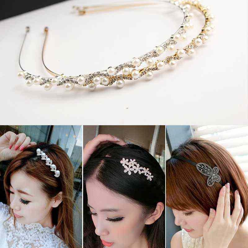 Grand papillon fleur cristal bandeaux de cheveux perle de mariage mariée tiare accessoires de cheveux épingle à cheveux bijoux chapeaux mode 2019