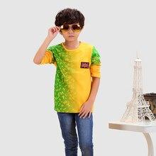 Boys Yellow Full T Shirt 2016 Fashion Brand Character Boy's Tops Cotton Girls Tees Long Sleeve Children's Clothing Boys T Shirt