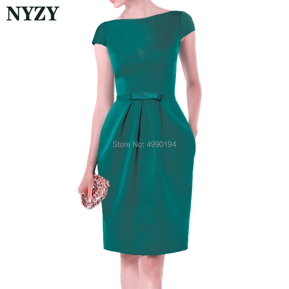 Turquoise Vestido Robe   Cocktail     Dresses   2019 NYZY C155 Elegant Pocket Satin Wedding Party   Dress   Guest Wear Formal Gown