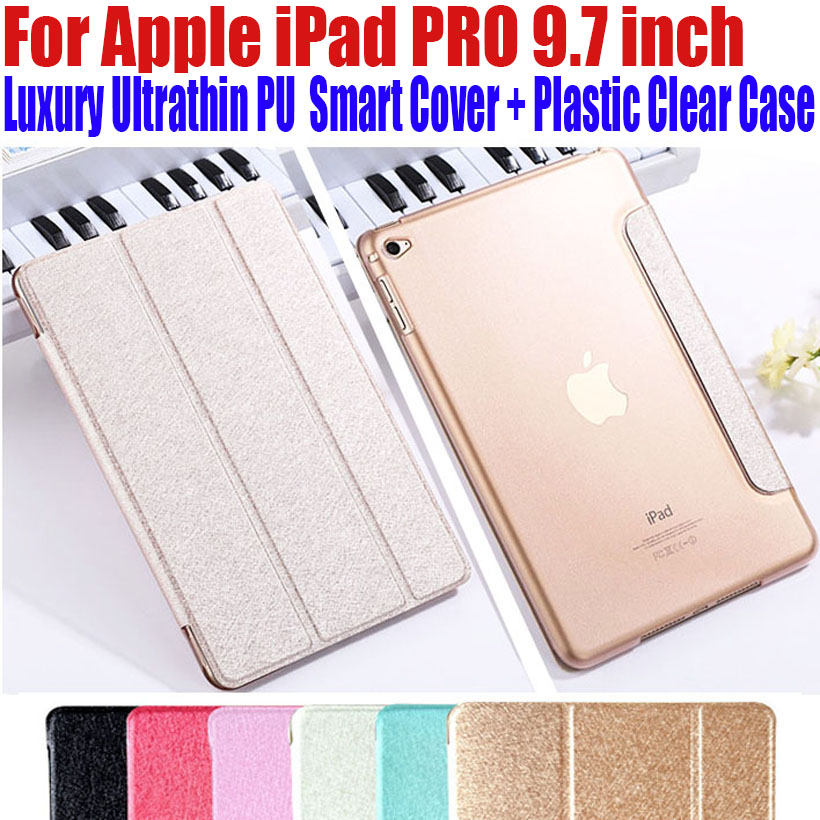 For Apple iPad PRO 9.7 inch Luxury Magnetic Ultrathin Slim Smart PU Leather Cover Plastic Clear back case For iPad Pro IPRS2 for apple ipad pro 12 9 inch pu leather stand cover flip back case luxury business style smart tablet cover for ipad pro