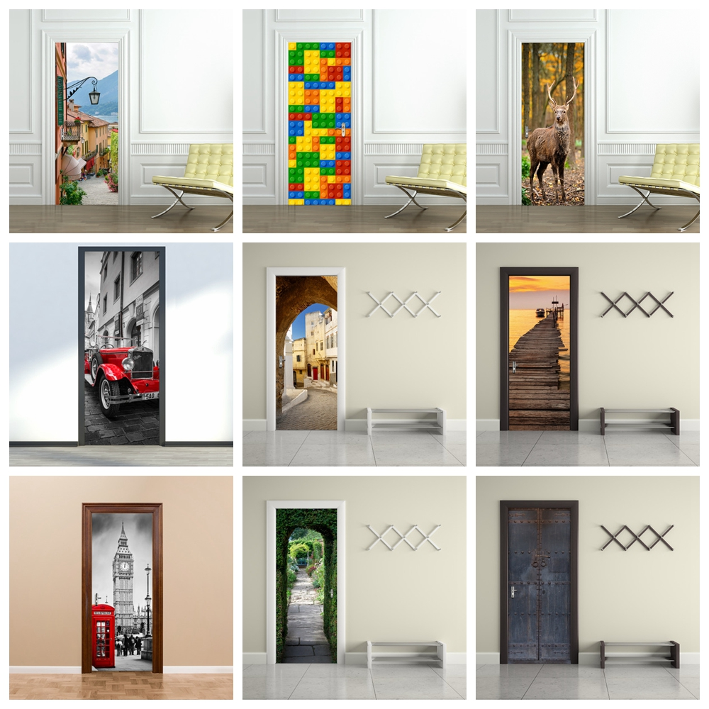 Door Wall Sticker Landscape Removable Art Vinyl Mural Home Room Toilet Door Vinyl Decal Transfer Vintage Decoration Quote Art