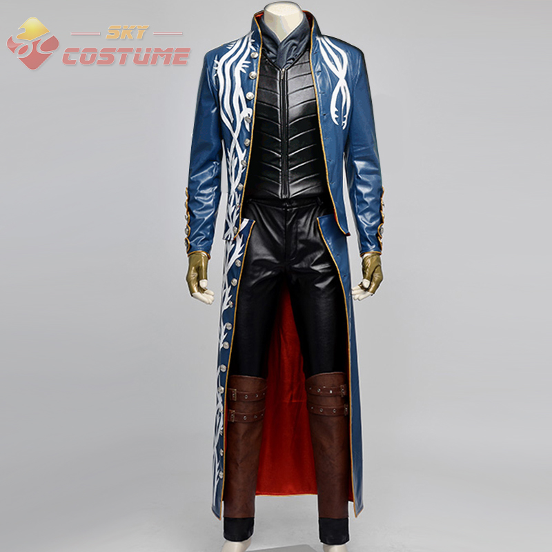 Devil May Cry 3 Cosplay Vergil Costume Jacket Coat Vest Pants Suit Outfit Men
