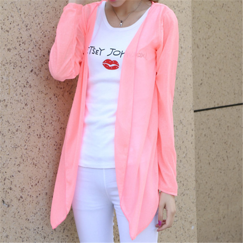 Sale Fashion Women Summer Autumn Candy Colors Sun Protection Casual Cardigans Air Conditioning Shirts Thin Coat Blouse