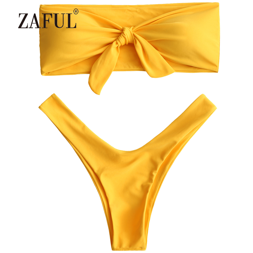 bf4fed89d0335 ZAFUL Bikini Knotted High Cut Bandeau Bikini Women Swimsuit Sexy Strapless  Padded Swimwear Solid Swimming Suit