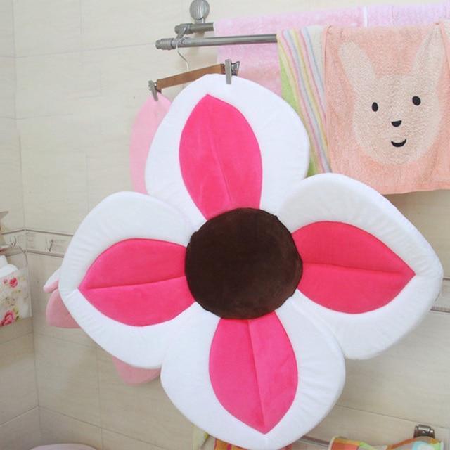 New Baby Flower Bath Tub Newborn Blooming Sink Bath For Baby Boy Girl Foldable Shower Play Bath Infant Plush Floral Cushion Mat 3