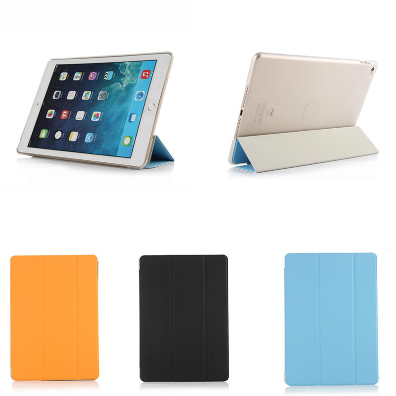 NEW TLP For Apple iPad Air 2 iPad 6 Luxury Smart Case Cover PU Leather Tri-Fold Stand With Hard Back Case For Ipad air2